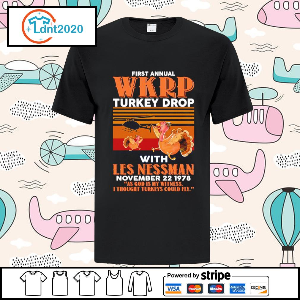 First annual WKRP turkey drop with Les Nessman November 22 1978 vintage shirt