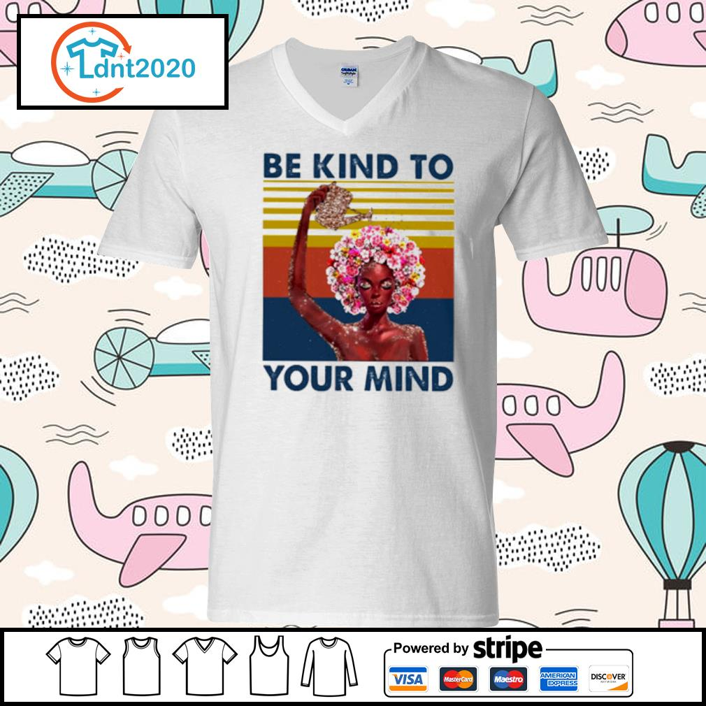 Flower girl be kind to your mind vintage s v-neck-t-shirt