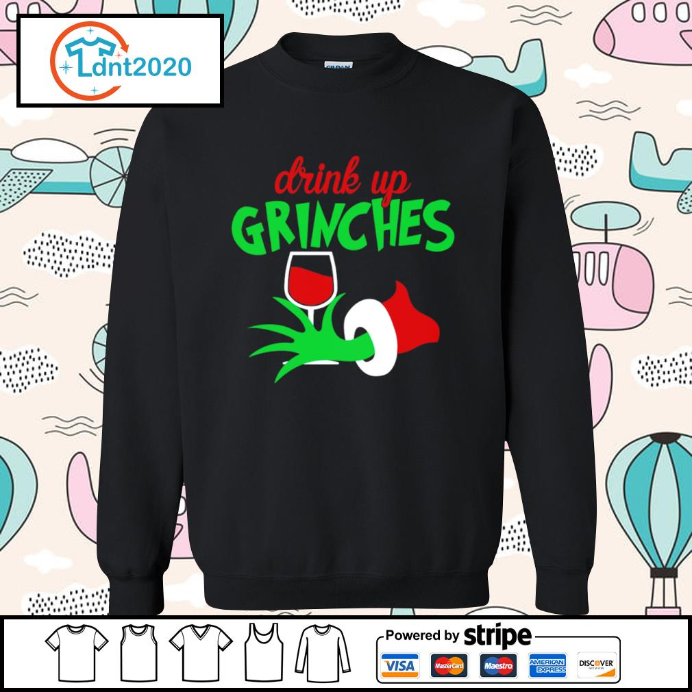Grinch drink up Grinches glitter wine s sweater