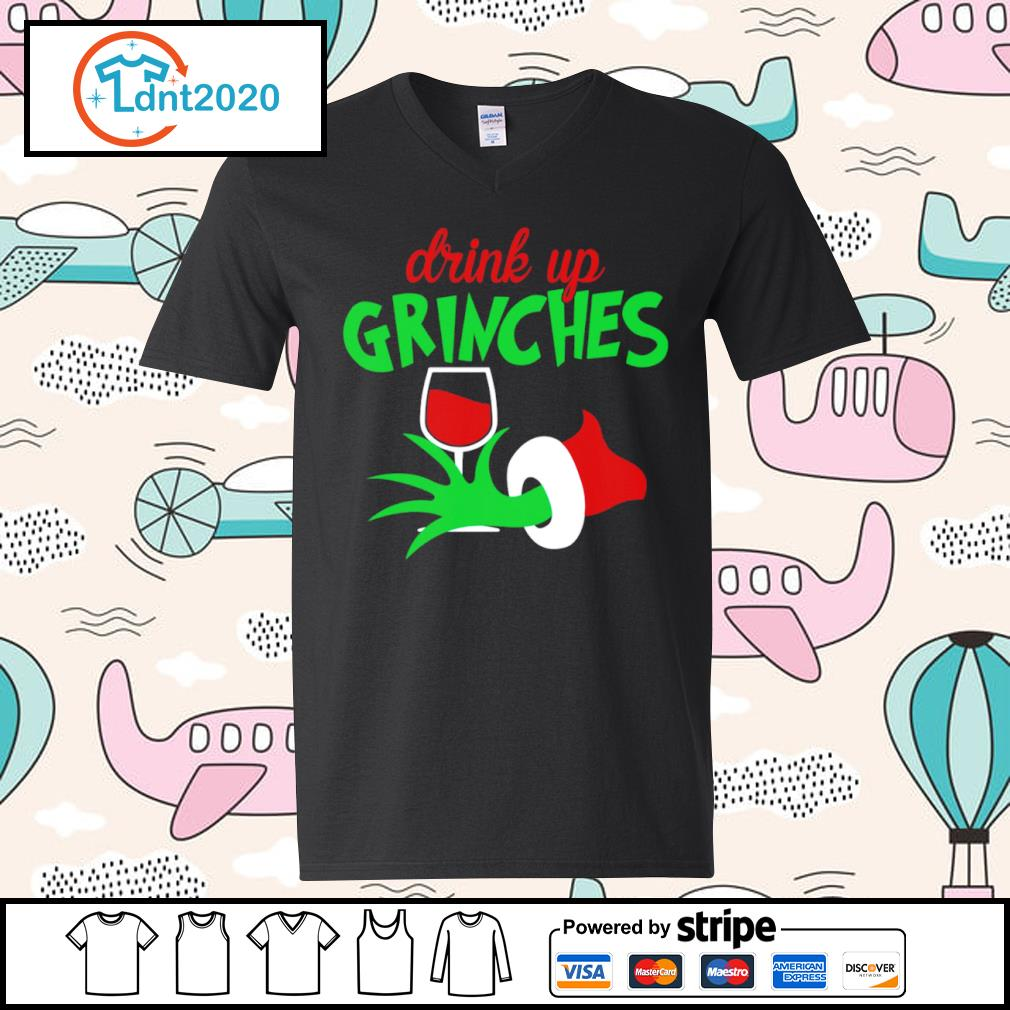 Grinch drink up Grinches glitter wine s v-neck-t-shirt