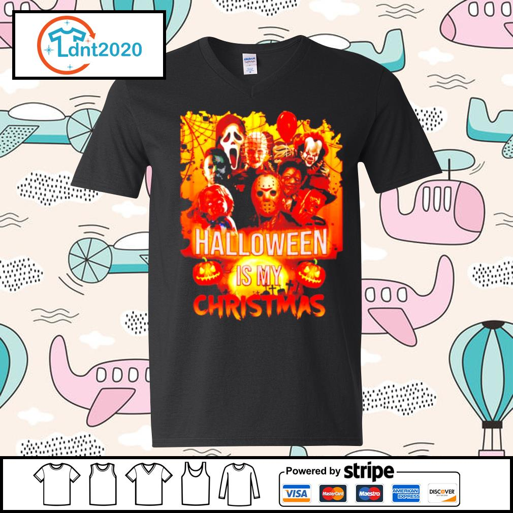 Halloween characters movie Halloween is my Christmas s v-neck-t-shirt