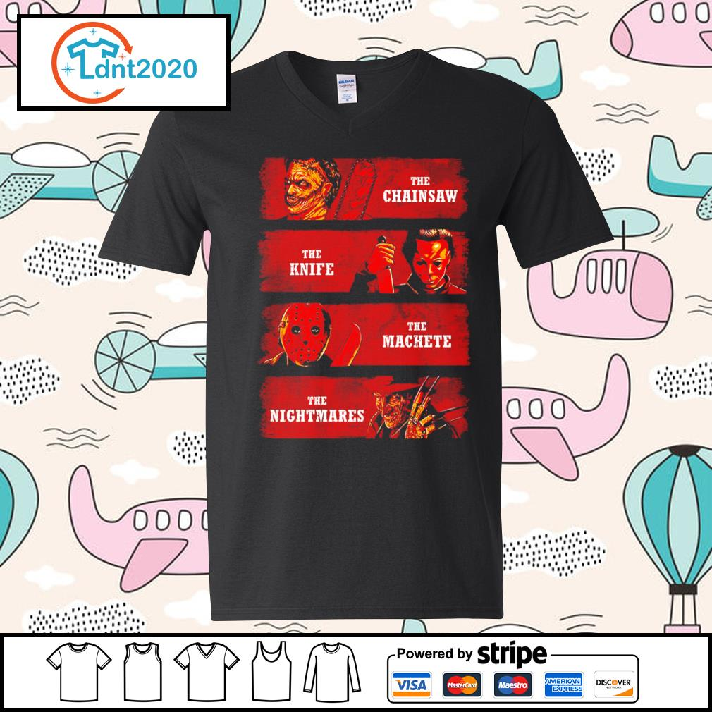 Halloween Horror movie characters the chainsaw the knife the machete the nightmares s v-neck-t-shirt