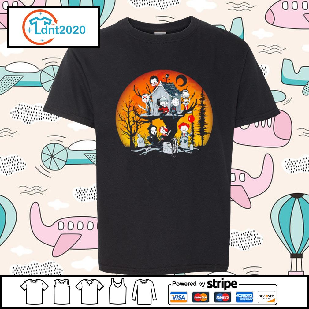 Horror movies characters chibi on tree house Halloween s youth-tee