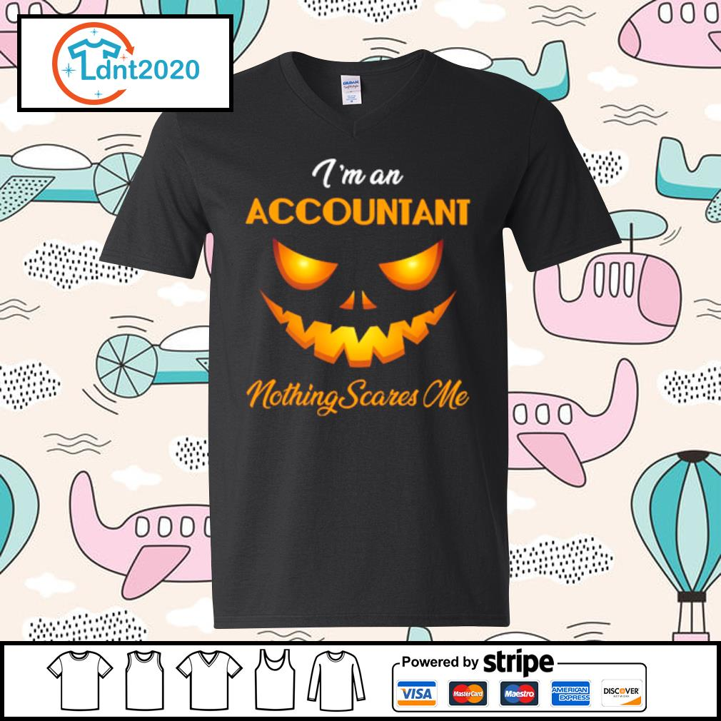 I'm an accountant nothing scares me halloween s v-neck-t-shirt
