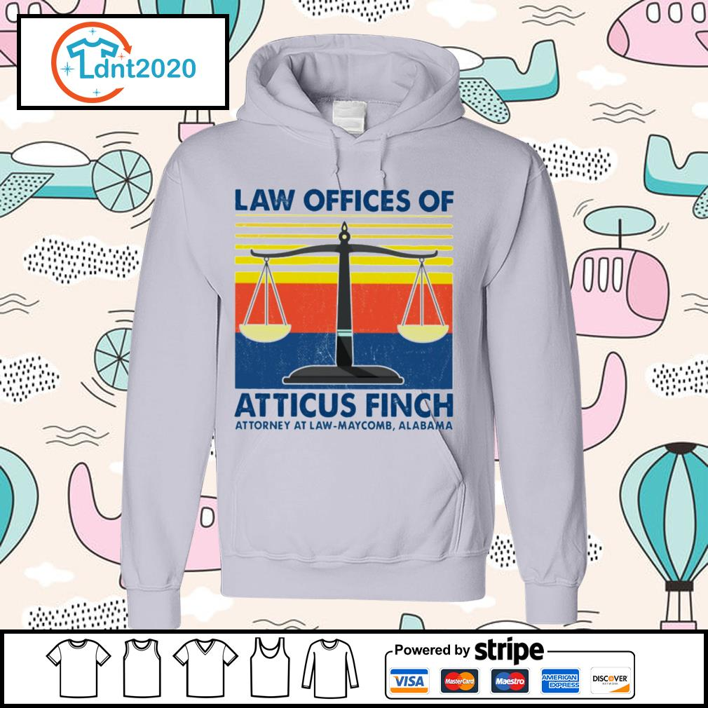 Law offices of atticus finch attorney atlaw-maycomb alabama vintage s hoodie