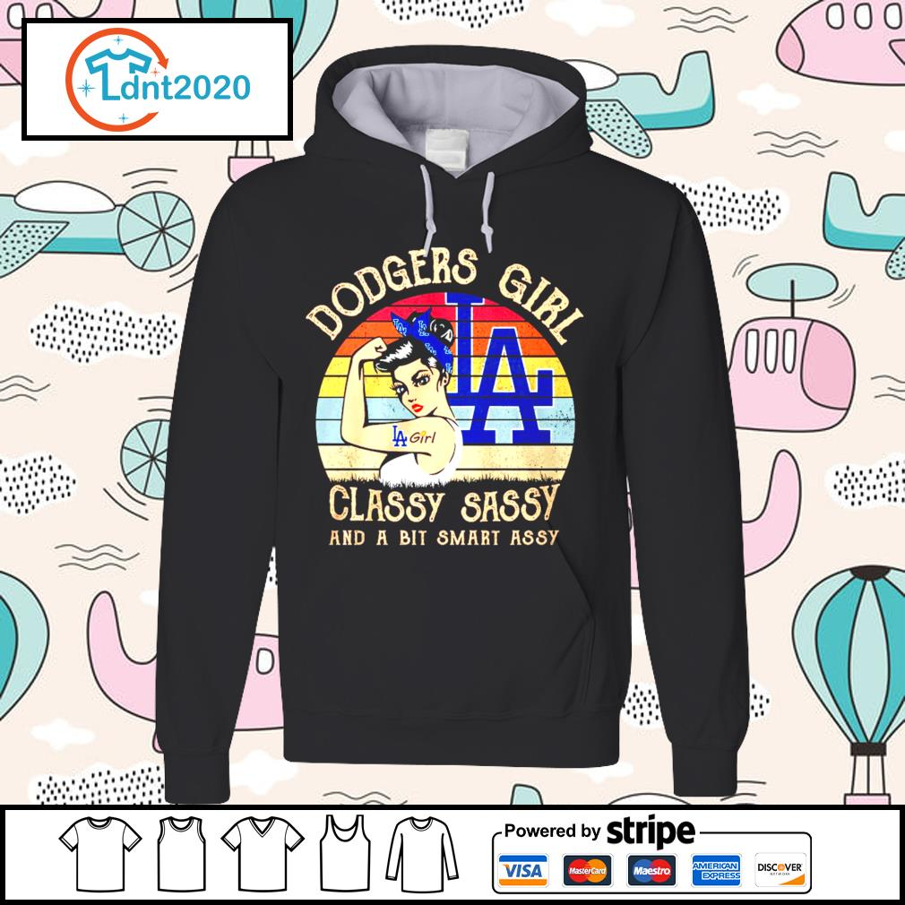 Los Angeles Dodgers girl classy sassy and a bit smart assy vintage s hoodie