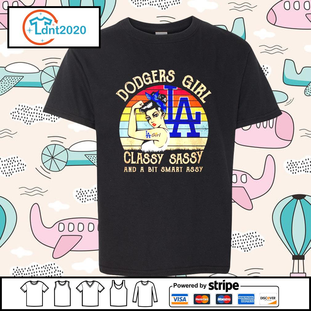 Los Angeles Dodgers girl classy sassy and a bit smart assy vintage s youth-tee