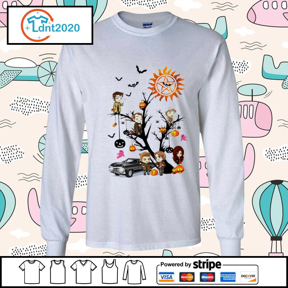 Official Supernatural characters chibi on Halloween tree s longsleeve-tee
