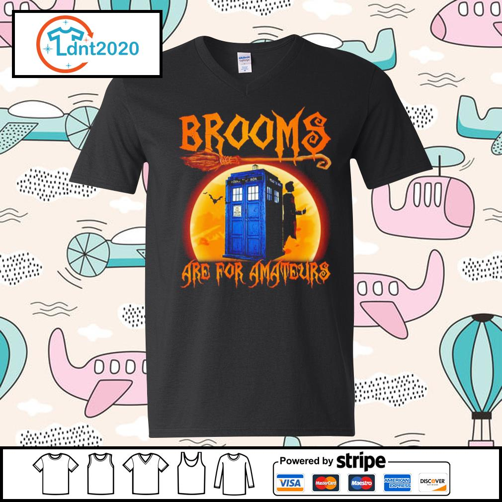 Police Box Brooms are for amateurs Halloween s v-neck-t-shirt