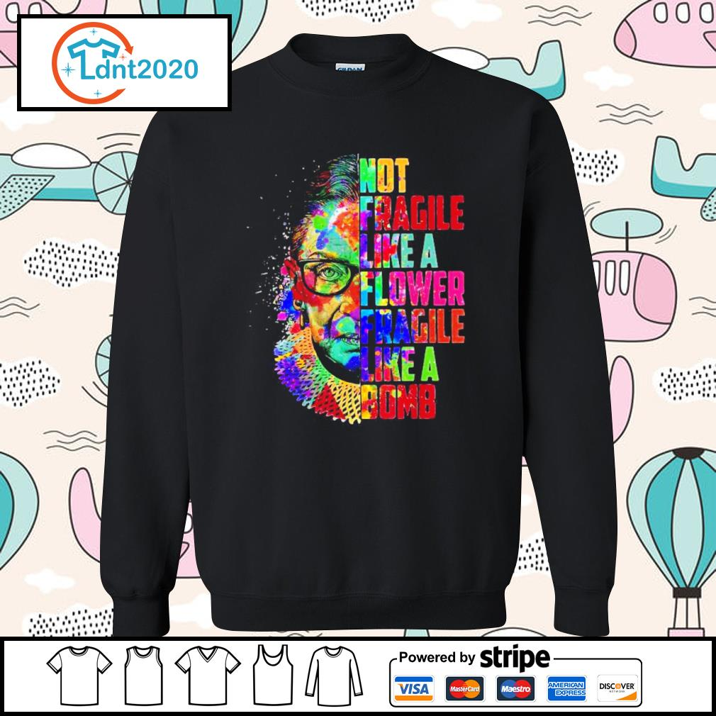 Ruth Bader Ginsburg not fragile like a flower fragile like a bomb color water s sweater