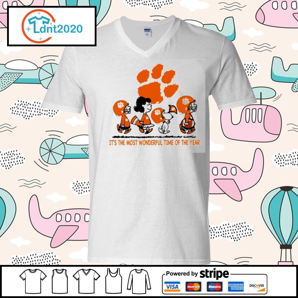 Snoopy and friends Clemson Tigers it's the most wonderful time of the year s v-neck-t-shirt