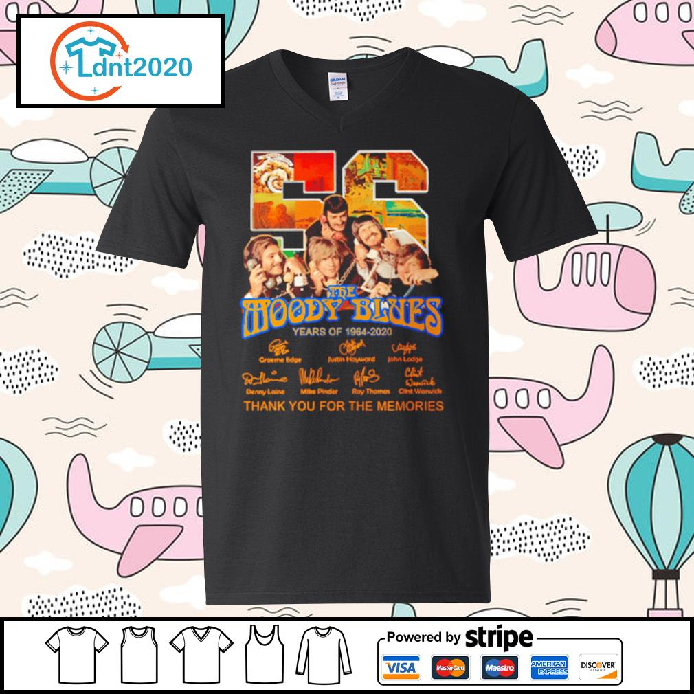 The Moody Blues 56 years of 1964-2020 thank you for the memories s v-neck-t-shirt
