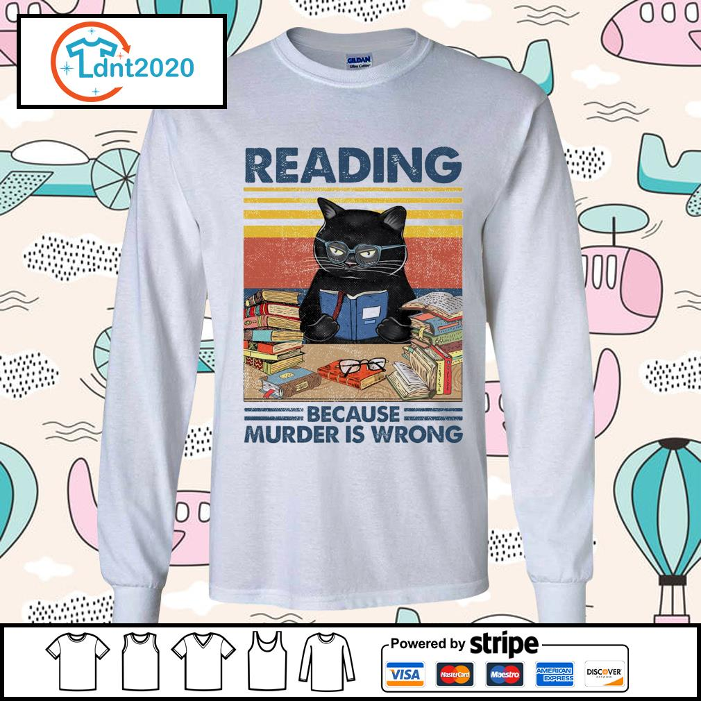 Black cat reading because murder is wrong vintage s longsleeve-tee
