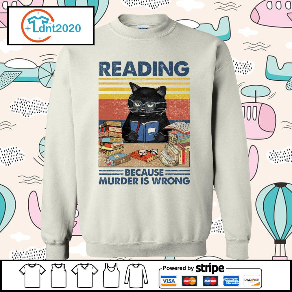 Black cat reading because murder is wrong vintage s sweater