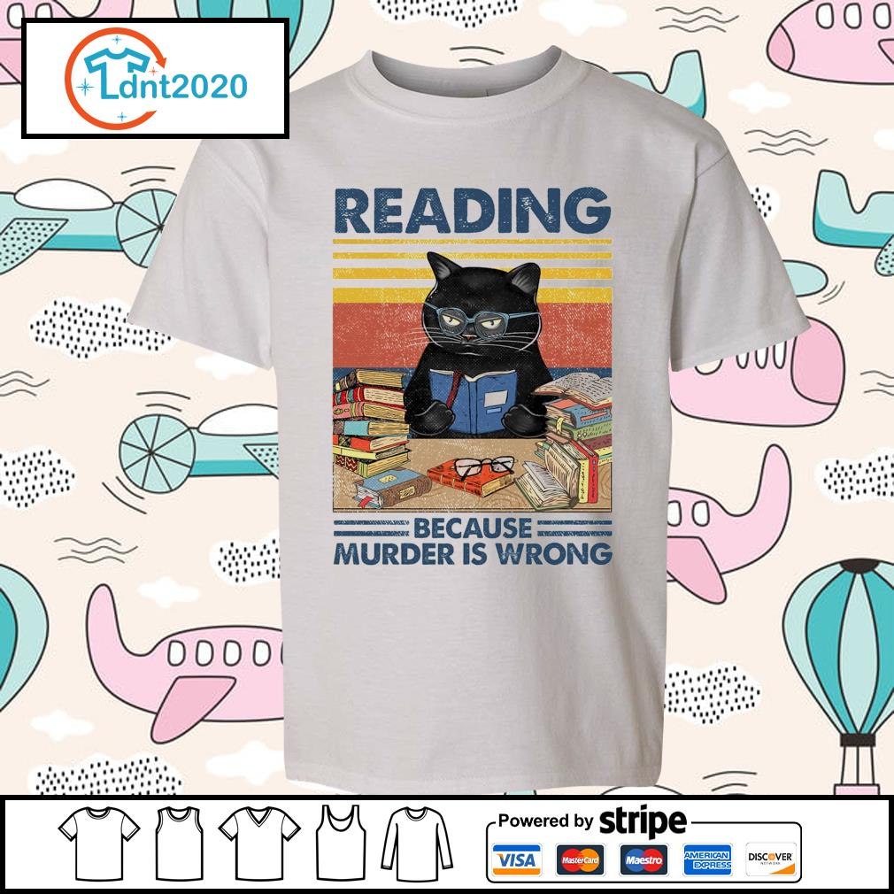 Black cat reading because murder is wrong vintage s youth-tee