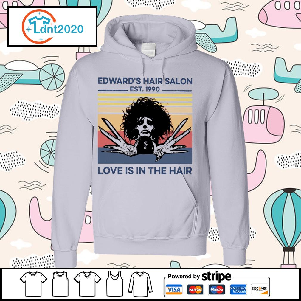 Edward's hair salon est 1990 love is in the hair vintage s hoodie