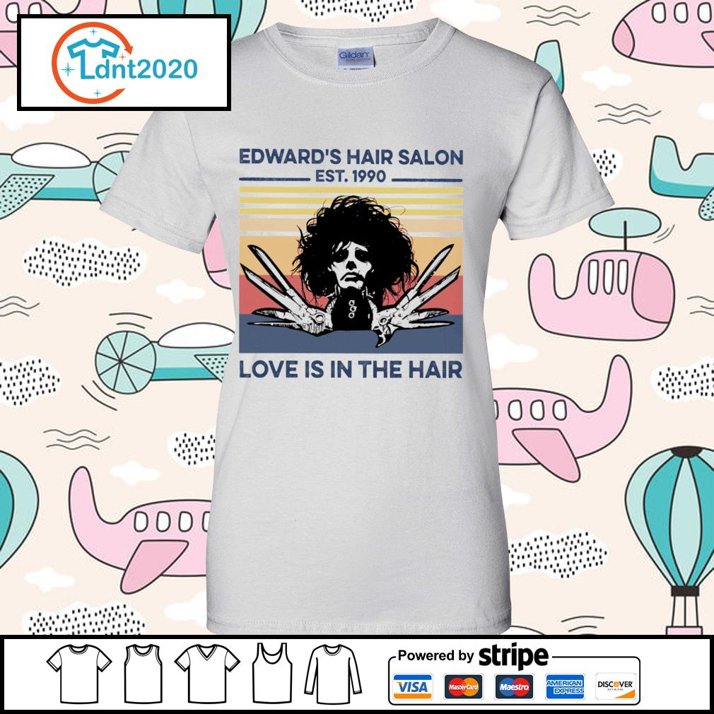 Edward's hair salon est 1990 love is in the hair vintage s ladies-tee