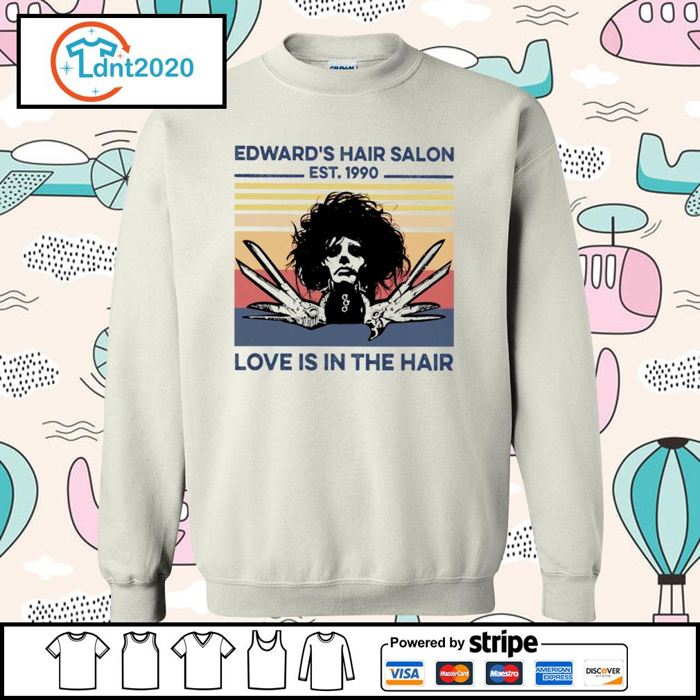 Edward's hair salon est 1990 love is in the hair vintage s sweater