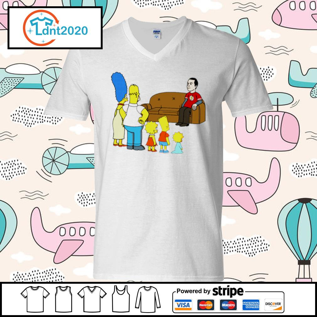 The Simpsons family X The Big Bang Theory s v-neck-t-shirt