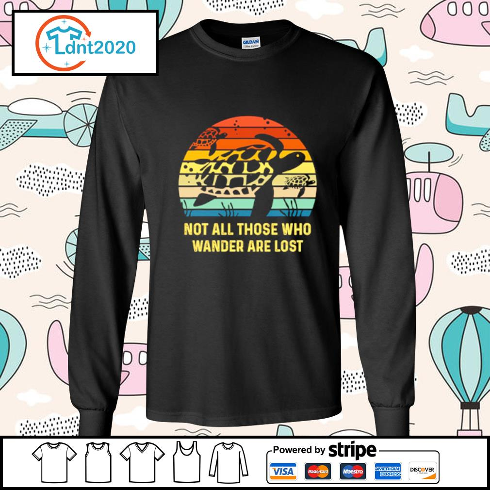 Turtle not all those who wander are lost vintage s longsleeve-tee