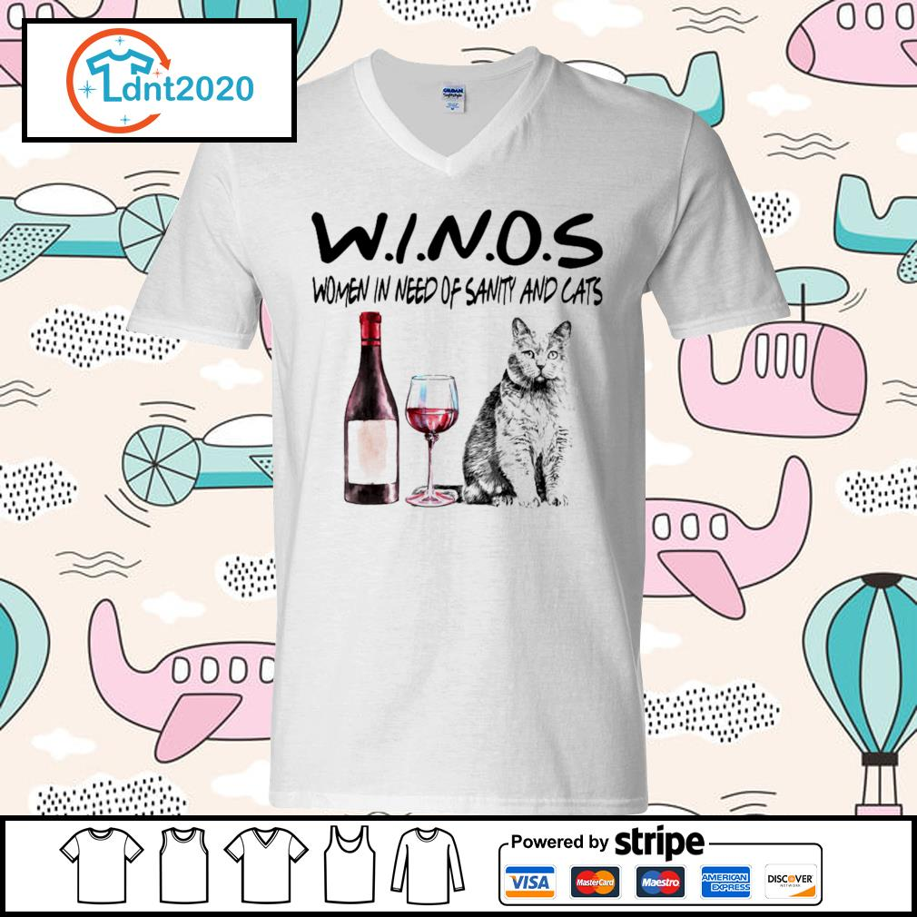 Winos women in need of sanity and cats s v-neck-t-shirt